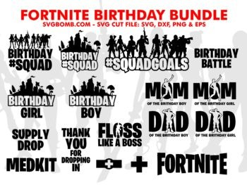 fortnite brithday bundle svg cut file