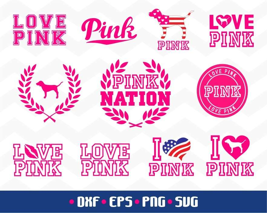 694+ Love Pink Svg DXF Include