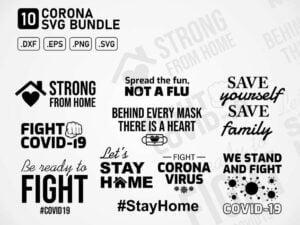 Corona Covid 19 Virus Fight Printable SVG Cut File DXF PNG