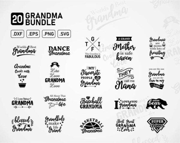 Grandma Funny Quotes Bundle SVG Vector EPS