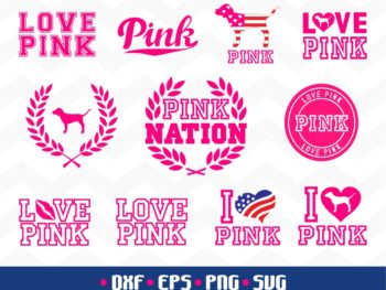 Love Pink Bundle SVG Dog Pink Cut File