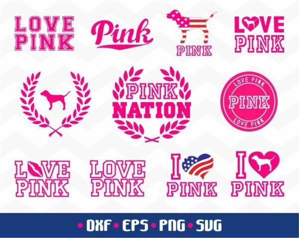 Love Pink Bundle SVG Dog Pink Cut File