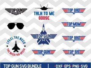 Top Gun SVG Bundle Top Mom Dad Maverick