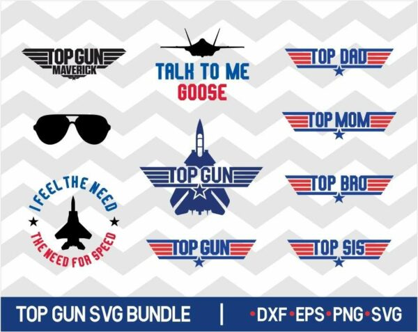 Top Gun SVG Bundle Top Mom Dad Maverick