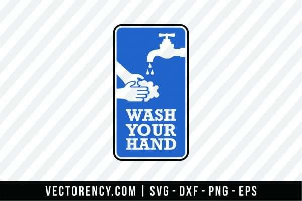 Wash Your Hand SVG File For Bathroom Design