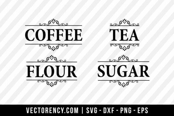 Flour, Sugar, Coffee, Tea SVG Bundle Cut File