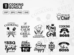 grill chef kitchen cooking quotes vector svg cut file