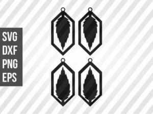 Diamond Earrings Leaf SVG Template Cut File