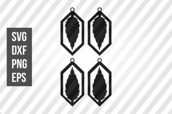 Diamond Earrings Leaf SVG Template Cut File