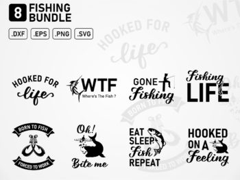 Fishing SVG Bundle, fish svg, bass svg, fish hook svg, lake svg, dad svg, rod svg, pole svg, keeping it reel svg, funny quotes svg, svg file