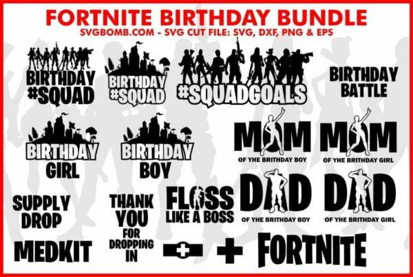 Fortnite Birthday SVG Cut File Bundle