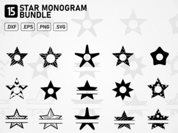 star monogram bundle svg cut file cricut silhouette cameo