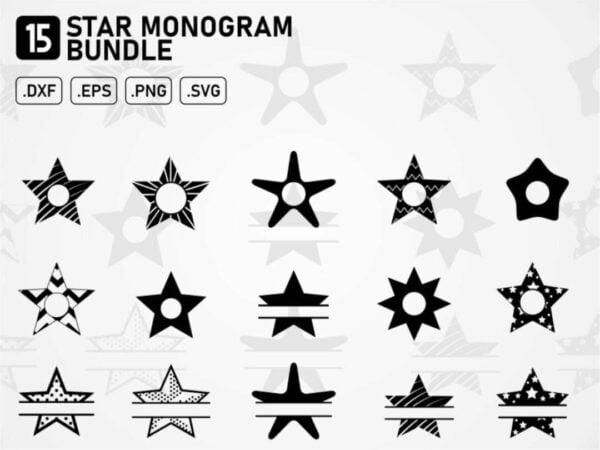star monogram bundle svg cut file cricut silhouette cameo
