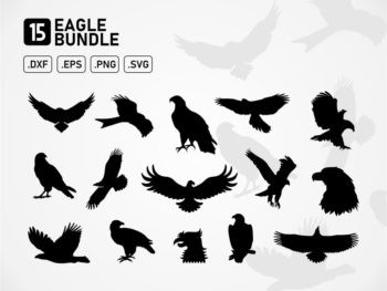 eagle svg cut files vector silhouette bundle