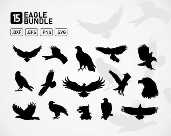 eagle svg cut files vector silhouette bundle