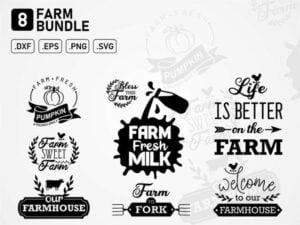 farm bundle svg cut file farmhouse farm fresh milk