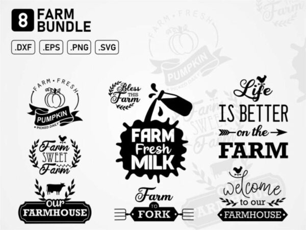 farm bundle svg cut file farmhouse farm fresh milk