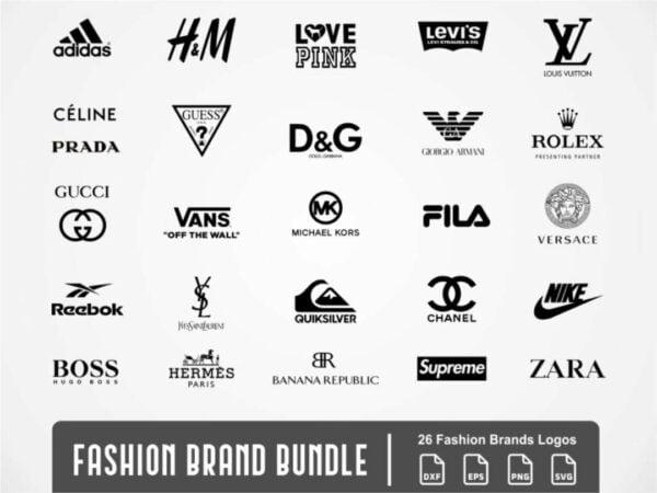 fashion brand bundle svg logo supreme ysl love pink