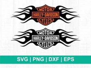 harley davidson with fire logo svg