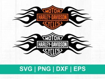 harley davidson with fire logo svg