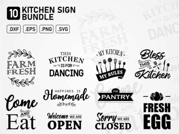 kitchen sign bundle svg cut file