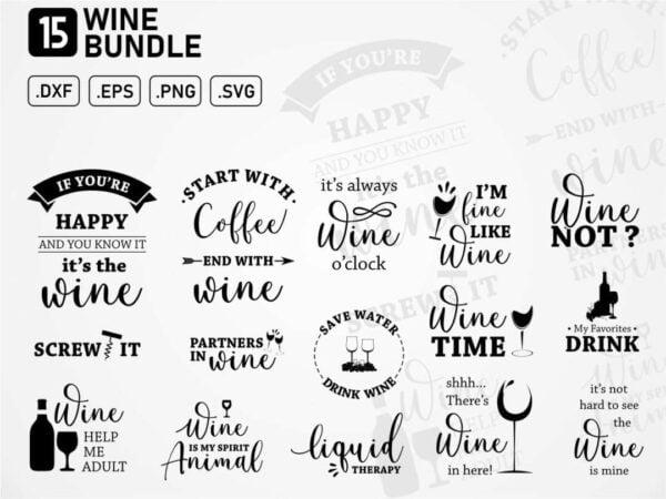 wine svg vector bundle Vectorency Wine SVG Bundle