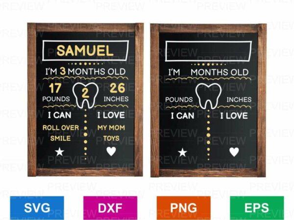 Baby Milestone SVG Template Vector