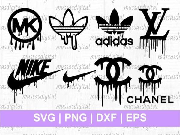 Brand Logo Drip SVG adidas lv chanel mk nike dripping