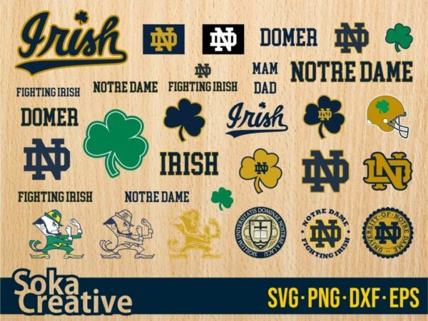 Notre Dame Fighting Irish svg cut file bundle cricut