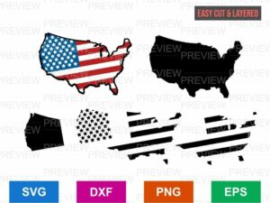 american flag map cut file