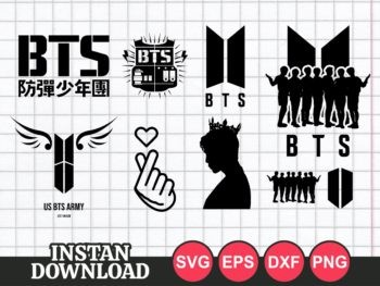 bts svg cut file bundle army kpop icon
