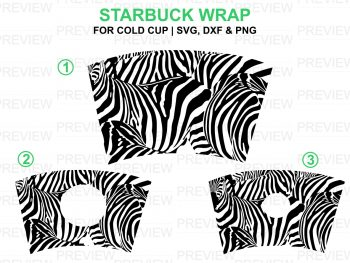 zebra starbuck cups svg template