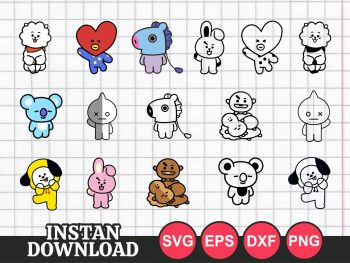 BTS BT21 SVG Bundle PNG Vector