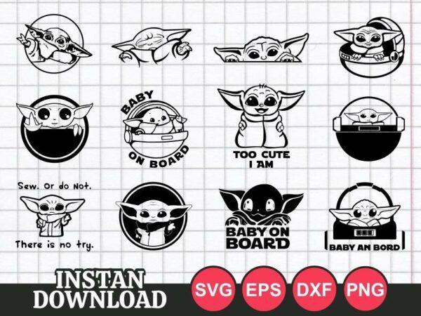 Baby Yoda SVG cut file baby on board