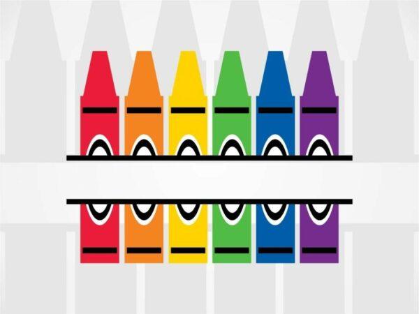 Crayons Split Frame SVG