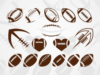 Football SVG cricut cut file vector half football ball
