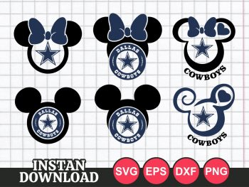 Mickey and Minnie Dallas Cowboys SVG Cricut