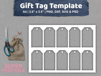 gift tag template svg printable PSD DXF PNG