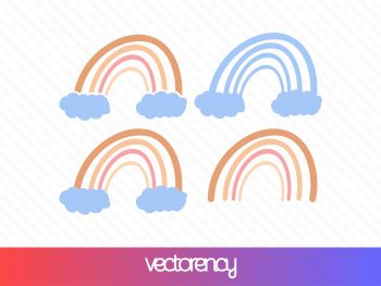 rainbow svg cut file eps vector clipart