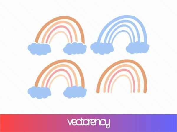 rainbow svg cut file eps vector clipart