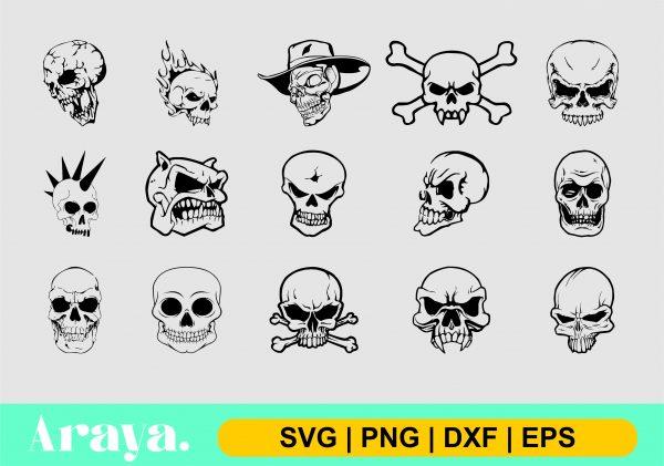 skull svg png dxf eps scaled Vectorency Skull SVG PNG DXF EPS Bundles
