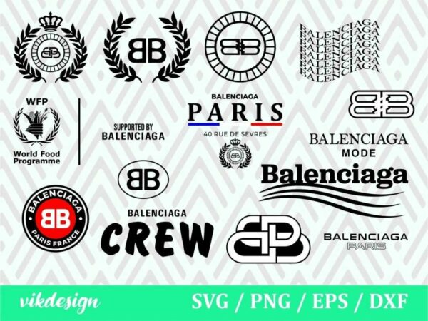 vikdesign balenciaga svg logo svg bundle Vectorency Balenciaga SVG DXF PNG EPS Bundle