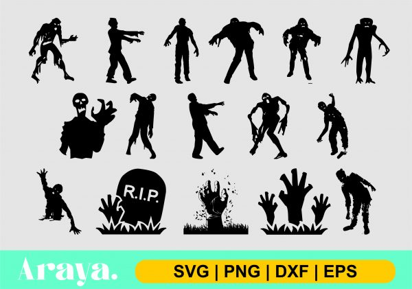 zombie bundle svg png dxf eps scaled Vectorency Zombie SVG PNG Bundle