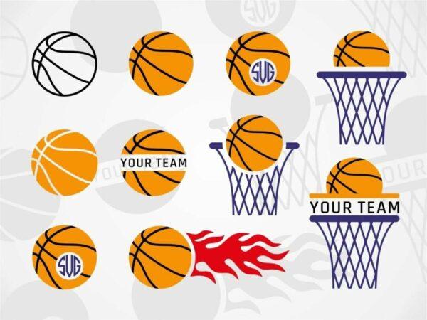Basketball monogram svg