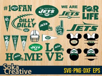 New York Jets SVG Bundle Silhouette Cameo DXF PNG EPS Vector
