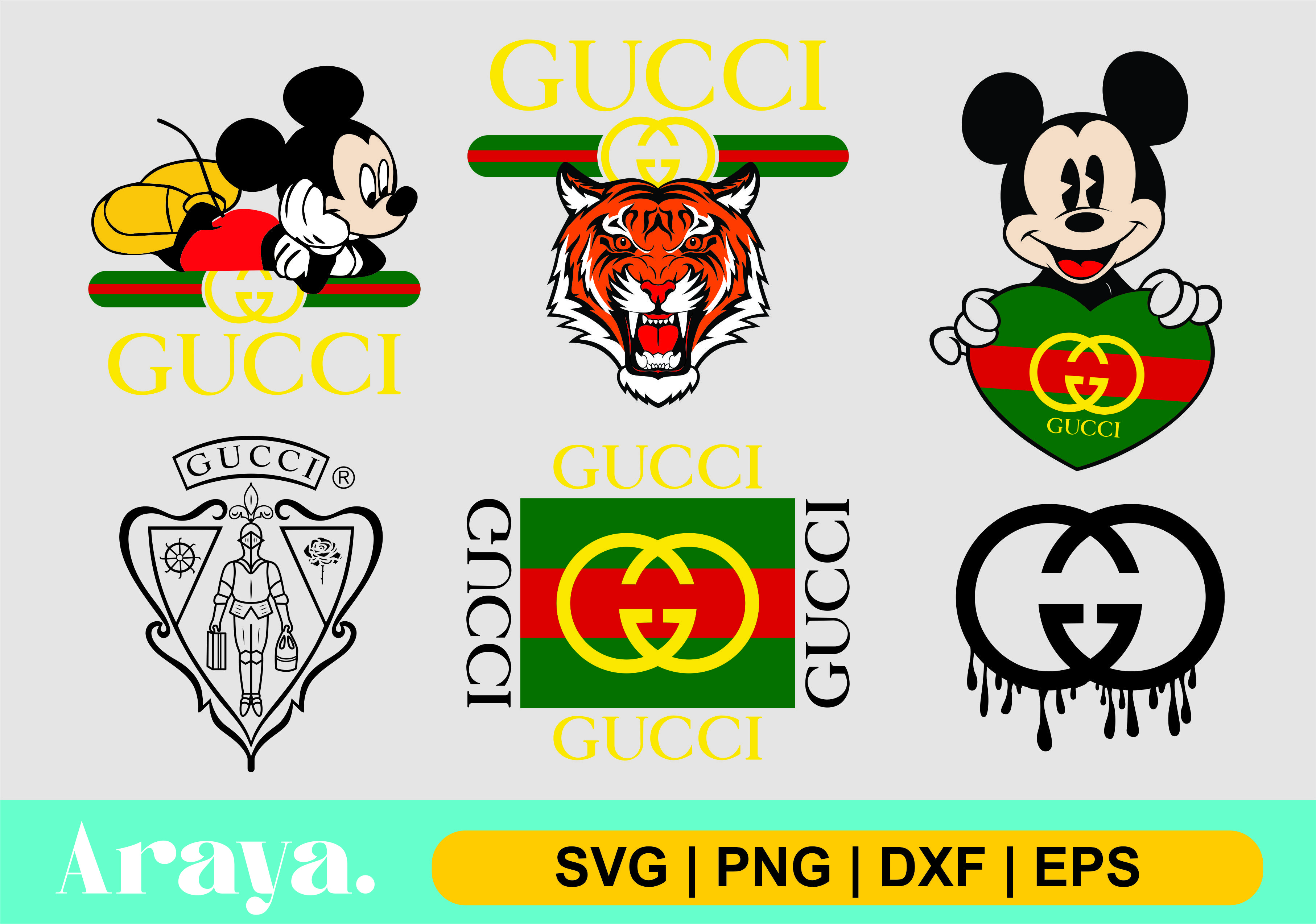 Gucci Logo Svg Mickey Mouse Bundle Vectorency