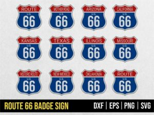 route 66 badge sign svg vector
