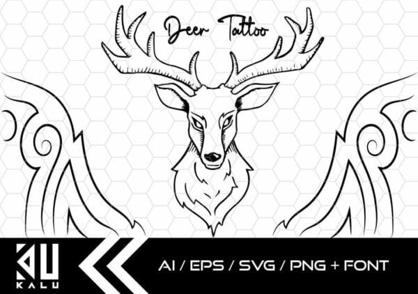 tatuaje de ciervo Mesa de trabajo 1 scaled Vectorency Deer Tattoo AI/EPS/SVG/PNG + Font Gift