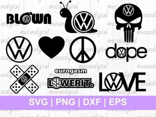 vw logo svg cut file decals vinyl