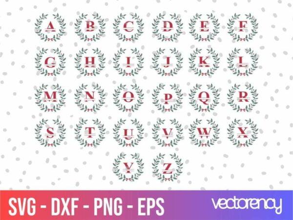 Christmas Split Monograms Vectorency Christmas Split Monograms SVG Cricut